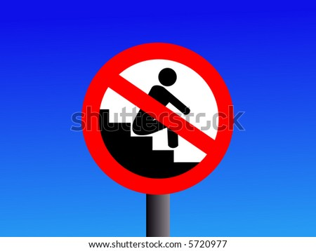 no sitting on steps sign with blue illustration