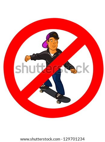 No skateboarding sign,vector illustration - stock vector
