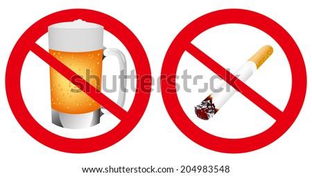 No smoking and No alcohol sign Vector - stock vector