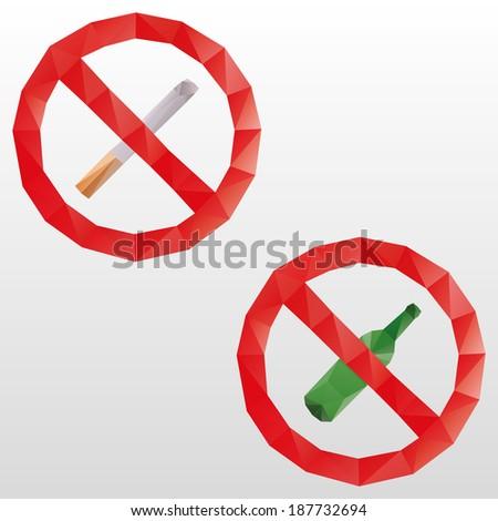 No smoking and no alcohol vector signs - stock vector