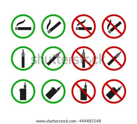 No Smoking and Smoking Allowed signs. Cigarettes and vaporizers (electronic cigarettes) icon set. - stock vector