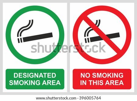 No smoking and smoking area labels - stock vector