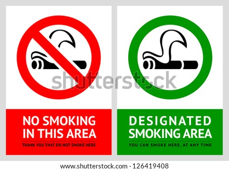 No smoking and Smoking area labels - Set 5, vector illustration - stock vector