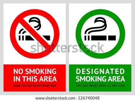 No smoking and Smoking area labels - Set 6, vector illustration - stock vector