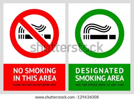 No smoking and Smoking area labels - Set 12, vector illustration - stock vector