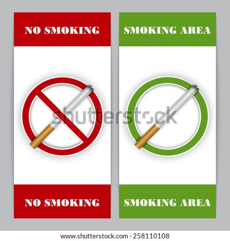 No smoking and Smoking area signs, highly detailed vector - stock vector