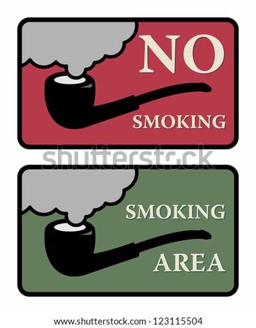 No Smoking and Smoking area signs, vector illustration - stock vector