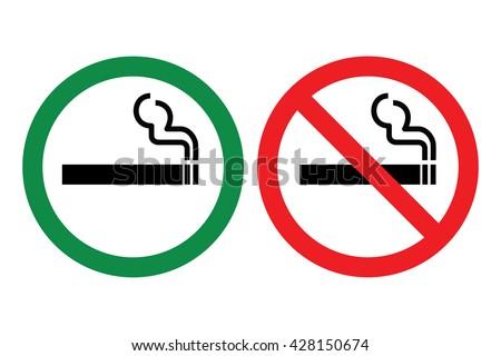No smoking and smoking sign set. Vector illustration - stock vector