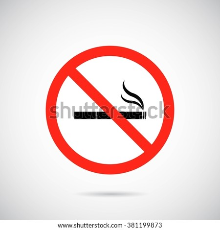 No smoking area banner on gray background. Vector art.