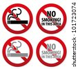 No Smoking Aria Sign in Vector Isolated on White - stock photo