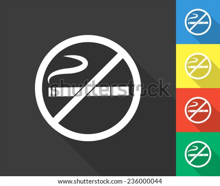 no smoking icon - gray and colored (blue, yellow, red, green) vector illustration with long shadow - stock vector