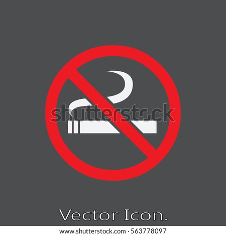 No smoking. Icon isolated sign symbol and flat style for app, web and digital design. Vector illustration.