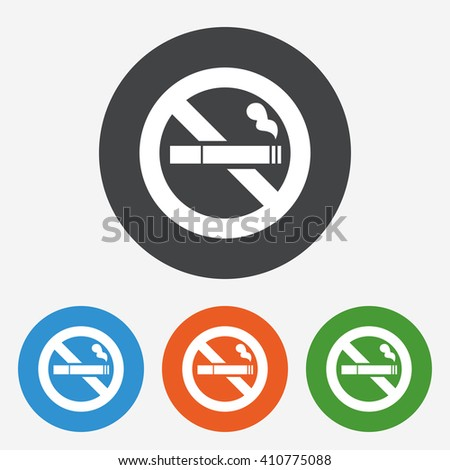 No smoking icon sign. No smoking icon flat design. No smoking icon for app. No smoking icon for logo. No smoking icon picture. Circle buttons with flat icon. Vector - stock vector