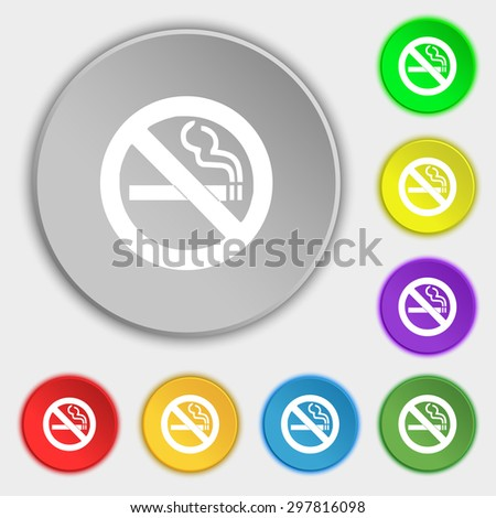 no smoking icon sign. Symbol on five flat buttons. Vector illustration - stock vector