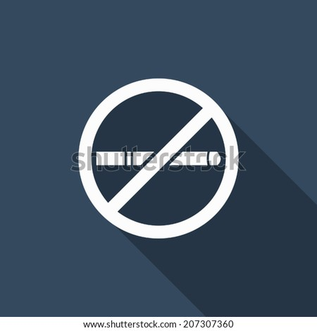 No smoking icon with long shadow - stock vector