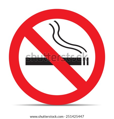 No smoking icon with shadow on white background vector