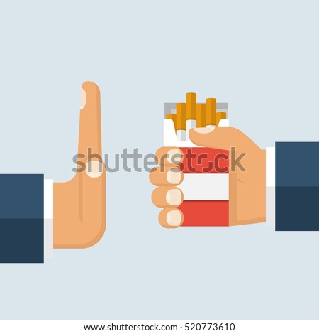 No smoking. Reject cigarette offer. Anti tobacco concept. Cigarette pack in his hand. Hand gesture to reject proposal smoke. Vector illustration flat design.