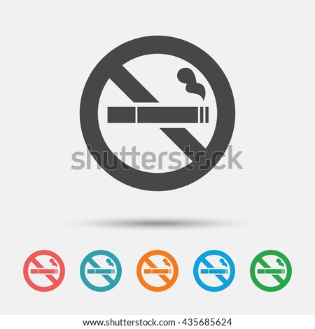 No Smoking sign icon. Cigarette symbol. Graphic element on white background. Colour clean flat no smoking icons. Vector - stock vector