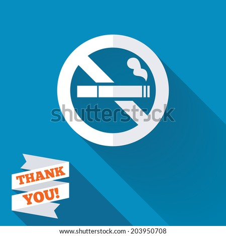 No Smoking sign icon. Cigarette symbol. White flat icon with long shadow. Paper ribbon label with Thank you text. Vector - stock vector