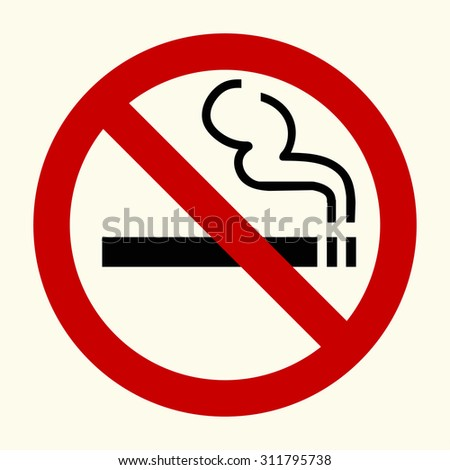 No smoking sign in red circle, vector - stock vector