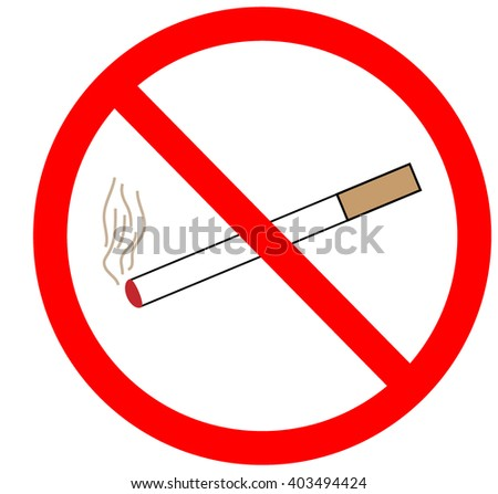 No smoking sign in red ring. Isolated on white background. No smoking symbol marks. Smoking ban sign picture. Red sticker vector illustration. Flat vector image. Vector illustration. - stock vector