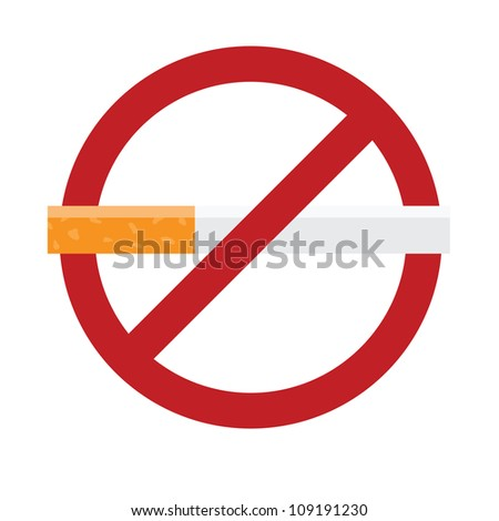 No smoking sign isolated on white. Vector illustration with simple colors. - stock vector