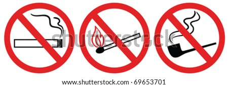 no smoking sign, no fire, no match, vector symbol - stock vector