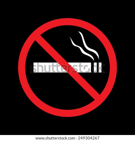 No smoking sign  on a black background
