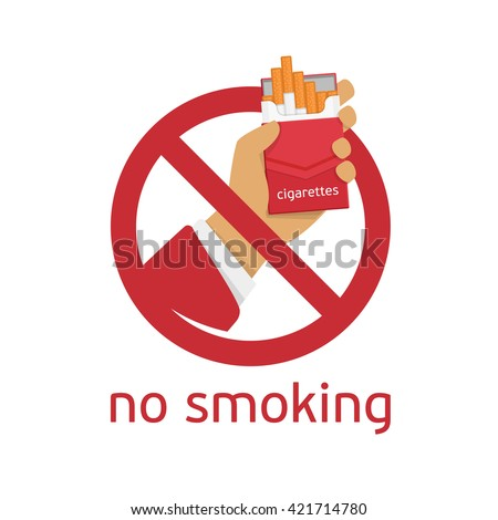 No smoking sign on white background. Modern non-smoking sign in a flat style.  - stock vector