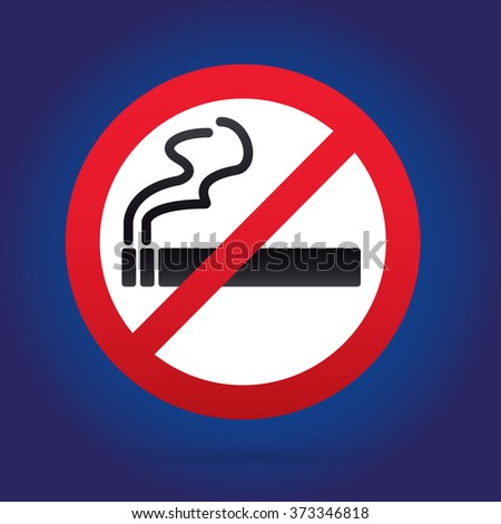 No smoking sign. Rounded. Blue Backround.