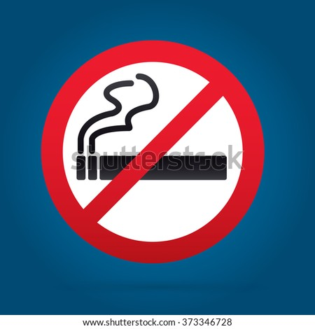No smoking sign. Rounded. Cyan Backround.