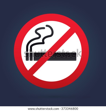 No smoking sign. Rounded. Navy Backround.