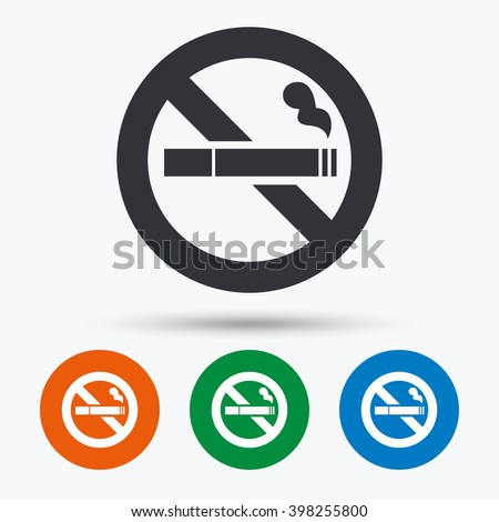 No smoking sign. Stop smoke symbol. Flat icons in circles. Round buttons for web. - stock vector