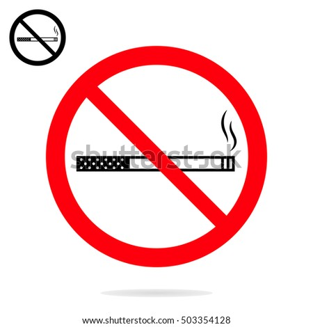 No smoking sign. The crossed-out cigarette in a red circle isolated on white background.