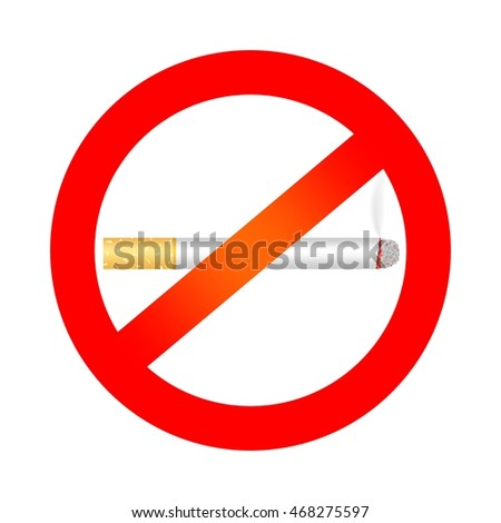 No smoking sign with a burning cigarette and the smoke and red prohibition sign on a white background