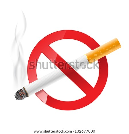 no smoking sign with cigarette - stock vector