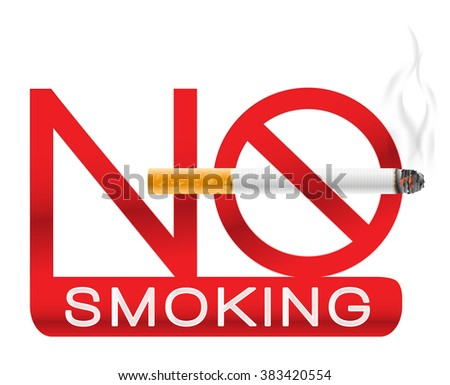 No smoking sign with cigarette and smoke. Vector illustration - stock vector