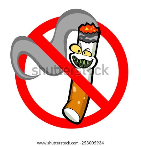 No smoking sign with funny cartoon cigarette. - stock vector