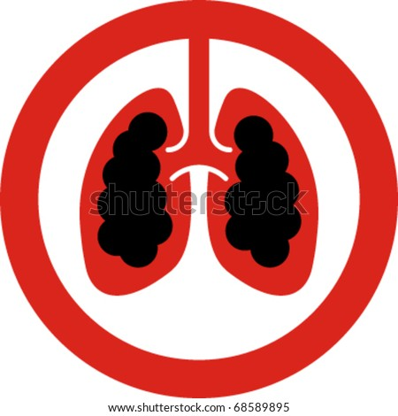 No smoking sign with lung cancer concept in vector - stock vector
