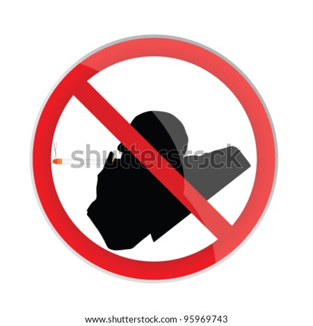 no smoking sign with man illustration art vector