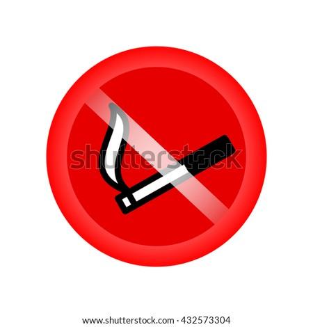 No smoking sing. Stop smoking. Red forbidding symbol for smoking. Vector illustration - stock vector