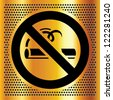 No smoking symbol on a bronze background - stock vector