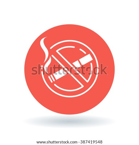 No smoking zone icon. Non smoking area sign. Cigarette prohibited symbol. White icon on red circle background. Vector illustration. - stock vector