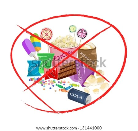 No Sweet Food, An Illustration of Forbidden or Prohibition Sign on Different Types of Snack and Sweet Food, Popcorn, Popsicles, Lollipops, Chocolate, Candies and Potato Chips - stock vector