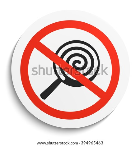 No Sweets Candies Prohibition Sign On Stock Vector ...