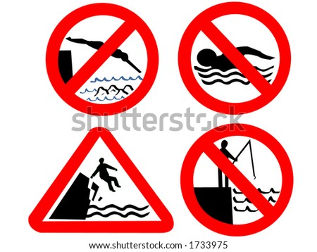 No swimming diving or fishing signs - stock vector