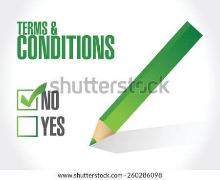 no terms and conditions illustration design over white - stock vector