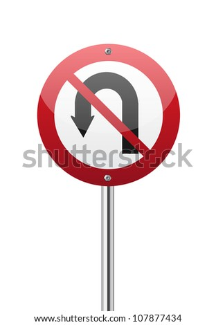 No u turn red circle traffic sign isolated on white