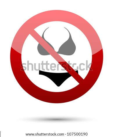 No underwear sign on white - stock vector