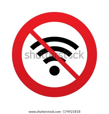 No Wifi sign. Wi-fi symbol. Wireless Network icon. Wifi zone. Red prohibition sign. Stop symbol. Vector - stock vector